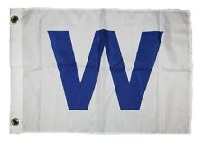 "12x18 12''x18'' Chicago Cubs "" W "" Win Rough Tex Knitted Flag Banner grommets"