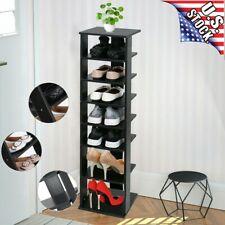 7 Tiers Wood Shelf Entryway Storage Stand Shoe Rack Organizer Home Furniture US