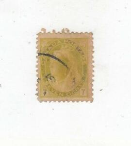 CANADA (MK6741) # 81 VF-USED THIN 7cts QUEEN VICTORIA NUMERAL/ OLI-YELLOW CV $30