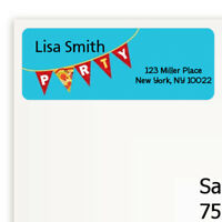 Pizza Party Birthday Party Personalized Return Address Stickers - 27 labels