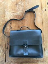 Ruitertassen Belgium black saddle leather messenger shoulder bag satchel EUC
