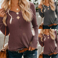 Women Long Sleeve Pullover Knitted Sweater Shirt Ladies Casual Blouse Jumper AU