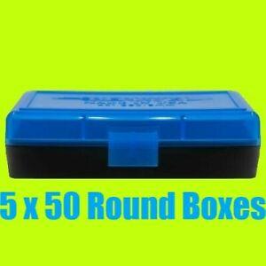 5 x BERRY'S PLASTIC AMMO BOX, BLUE/BLACK 50 Round 9MM / 380 - FREE S/H
