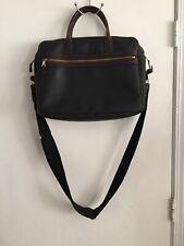 Mulholland Brothers black Saffiano Brown Trim leather messenger/briefcase bag