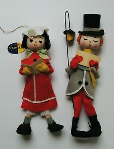 Vtg Dakin Dream Dolls Felt Christmas Carolers Japan Lot of 2 RARE & HTF