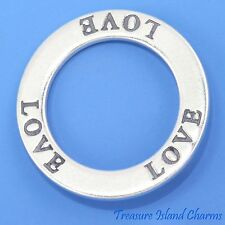 """LOVE"" AFFIRMATION .925 Solid Sterling Silver Circle BAND PENDANT MADE IN USA"