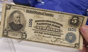 5 Dollar Bowery And East River National Bank Large Size National Currency 1902