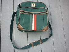 Vintage Leisure Airline Carry-On Bag w/ Strap 3 Compartments Canvas Green RETRO