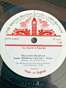 "MICHAEL KREIN SAXOPHONE QUARTET Debussy Golliwog 1944 BBC UK 10"" private 78"