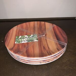 Tommy Bahama- Set of 4-Dark Wood Grain Melamine Salad Pasta Plates Bowls