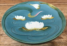 Majolica Water Lilly Lily Zell GS Baden Germany 2474 HUGE Plate Turquoise Blue