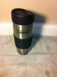 COLEMAN  INSULATED TRAVEL COFFEE MUG--STAINLESS--LID----FREE SHIP--VGC