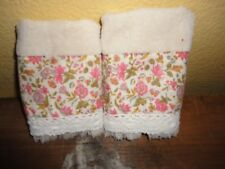 FIELDCREST VINTAGE FLORAL CORAL GREEN YELLOW (PAIR) FINGERTIP TOWELS 10 X 16