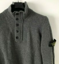 STONE ISLAND MADE IN ITALY GREY WOOL FUNNEL NECK 1/4 ZIP JUMPER L casuals