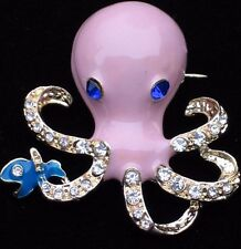 LAVENDER SEA CREATURE LIFE OCTOPUSES OCTI OCTOPI OCTOPUS PIN BROOCH JEWELRY