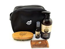 Beard Grooming Kit with Wash Bag - Beard Shampoo, Oil, Brush and Comb Gift Set