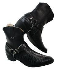 Mens White Black Tan Brown Snake Leather Look Cowboy Riding Chain Ankle Boots