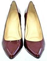 Calvin Klein Ashley Pump Women's 7 M Burgundy Patent Pointed Toe Slip Heel Shoes