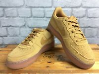 NIKE UK 5 EU 38 AIR FORCE 1 LV8 3 WHEAT SUEDE GUM TRAINERS CHILDRENS LADIES LG
