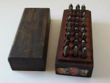 vintage safe hed matthews 3/32 Figure Letter  Metal Stamp Punch Set 27 peice set