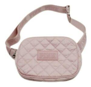 Victorias Secret PINK Logo Quilted Belt Bag Fanny Pack Waist Purse Pink