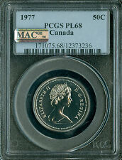 1977 CANADA 50 CENTS PCGS MAC PL-68 PQ 2nd FINEST GRADED POP-2 SPOTLESS *