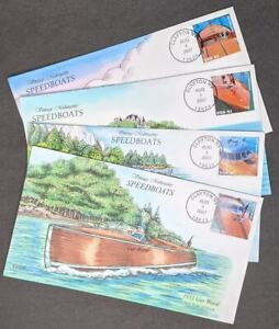 EDW1949SELL : USA 2007 Sc #4160-63 Cplt set Speedboats Collins Hand Painted FDC