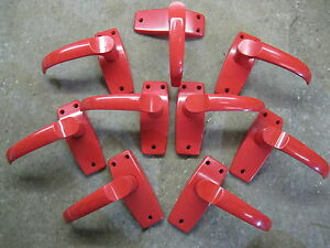 4 1/2 Pairs of Original Old Stock Everite Red Lever Handles 0200