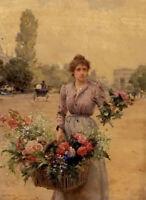Oil painting Louis Marie de Schryver - a flower seller near the arc de triomphe
