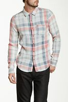 NWT Joe's Jeans Pink & Blue Plaid Single Pocket Relaxed Snap Down Shirt S $169