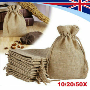 Linen Drawstring Gift Bag  Pouch Wedding Sacks Natural Jute Bags