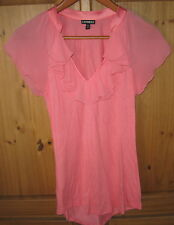 Express Blouse Top Ruffle V Neck Pullover Peach