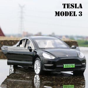 1:32 Tesla Model 3 90D Diecast Model Car Toy Collectible Sound&Light Kids Toy