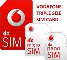 Vodafone UK STANDARD & MICRO & NANO SIM Card FOR IPHONE FITS ALL VODA PHONE