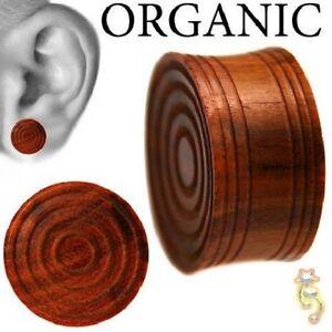 Organic Wood Plugs Brown Double Flare Design Ear Gauge Body Jewelry Tunnel