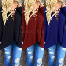 UK Women Cross Lace-up Long Sleeve Tops Blouse Open Front Hoodie T Shirt 8-24