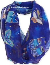 Laurel Burch Infinity Neck Scarf  Indigo Cats Butterflies Russian Blue NEW