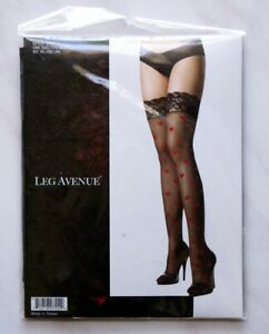 New Black Lace Top Stockings with Valentine Red Hearts One Size Packaged