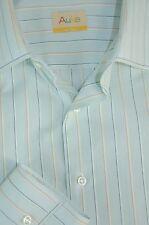 Auke Hombre Espuma Arcilla Marino & Verde Algodón de Rayas Camisa Vestir 16 X 34