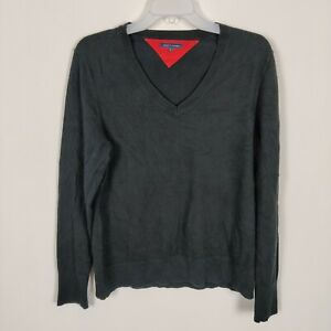 Tommy Hilfiger Ladies Black  V Neck Jumper Size XL