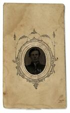 Civil War Tintype of Small Oval Shape With Nice Border