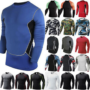 Mens Base Layer Long Sleeve Compression Fitness Shirts Sports Gym Thermal Tops
