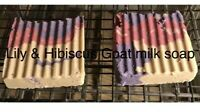 LILY & HIBISCUS- Goats Milk Soap Handmade 3 oz Bar Hemp All Natural Pain Relief