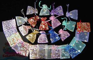 25/50/100/200PCS Print Pattern 12cmx9cm Organza Jewelry Pouch Wedding Gift Bags