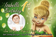 TINKERBELL FAIRIES BIRTHDAY PARTY INVITATION PHOTO 1ST INVITE CARD -10 designs!!