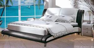 NEW Luxury Queen Size real Leather bed with gas lift slats base White & Black