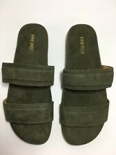 Nine West Dark Green 9 1/2 M Slide Sandals Leather Suede Zylan New With Box