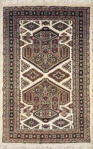 Rugstc 4x6 Caucasian Design Ivory  Rug, Hand-Knotted,Geometric with Silk/Wool