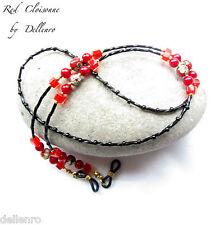 ✫ Rojo Cloisonne ✫ Beaded Anteojos Lentes Gafas Cadena Porta Cable