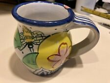 "Damariscotta Art Pottery 4"" tall Hand Colored Mug 2004 Colorful Floral NICE!"
